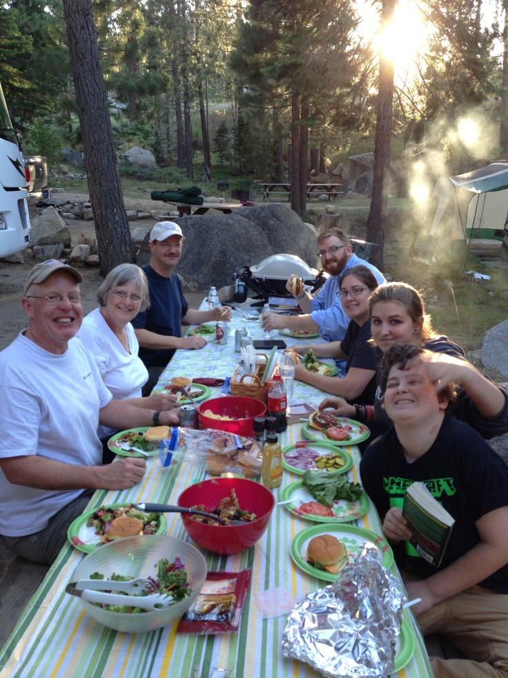 Tahoe campsite dinner