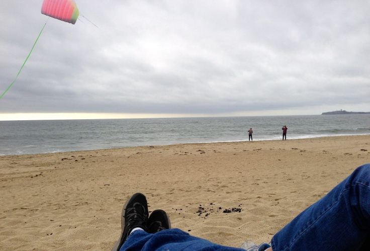 Kite flying at Half Moon Bay State Beach