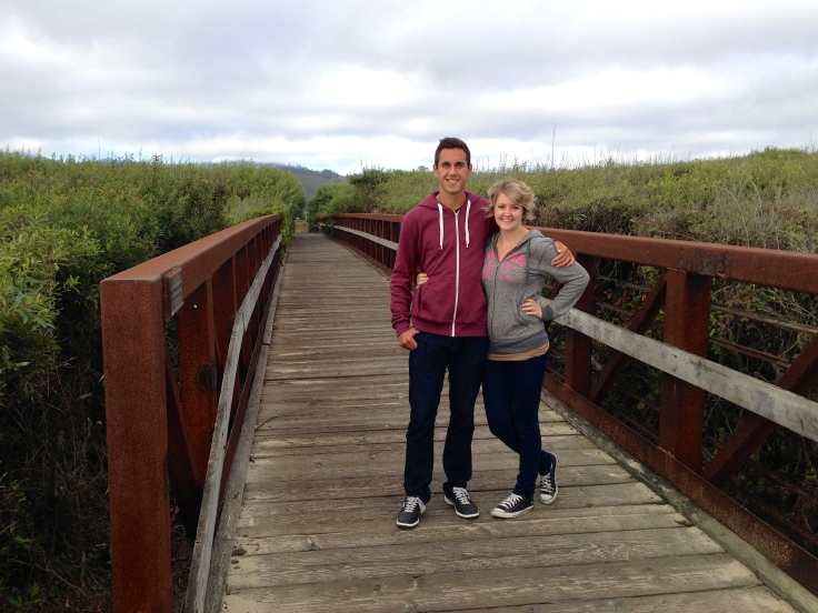 Kay and Alejandro walking on bike trail at Half Moon Bay State Beach