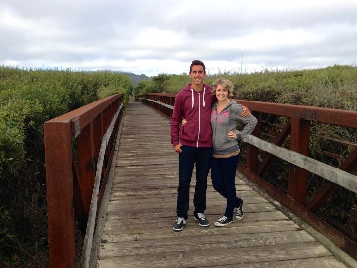Kay and Alejandro walking on bike trail at Half Moon Bay State Beach