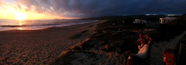 Panorama of sunset at Half Moon Bay State Beach